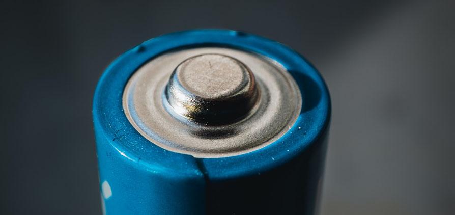 Close up shot of AA battery