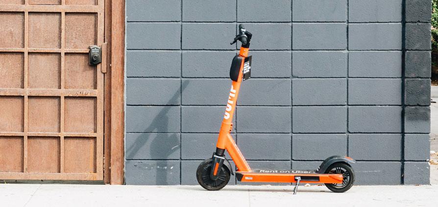 An orange escooter