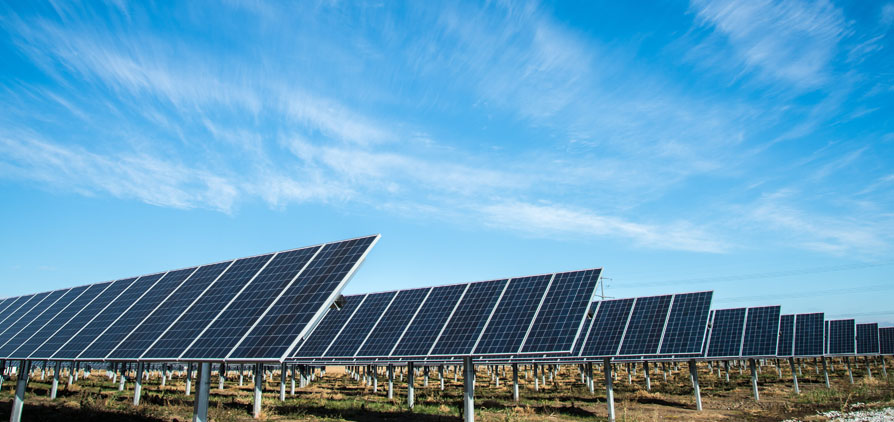 Solar panel farm, close up to panels